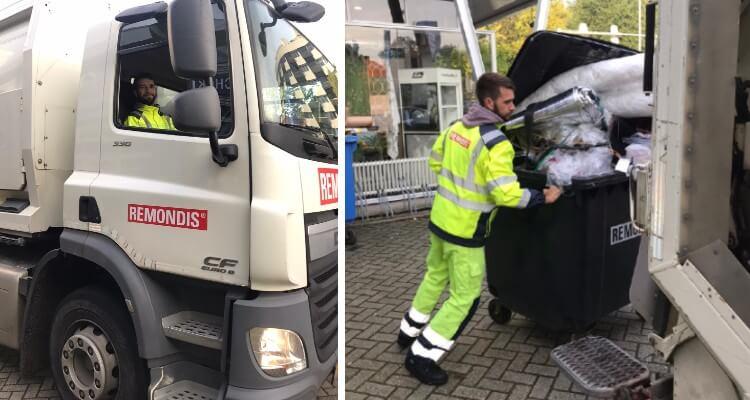 Combinatie van 2 foto's. Linkerfoto: een man zit in de cabine van een vrachtwagen. Rechterfoto: man rijdt een container naar een vrachtwagen